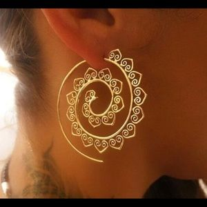 3/$28 boho gear shaped earrings, spiral gold